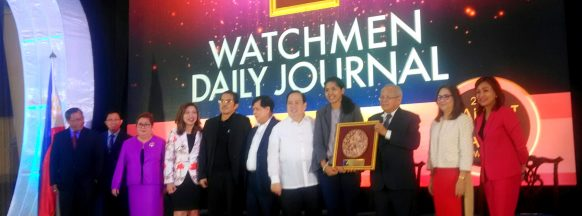 """2018 Balikat ng Bayan Award for """"Best Media Partner"""" in the print category. Watchmen Daily Journal's"""